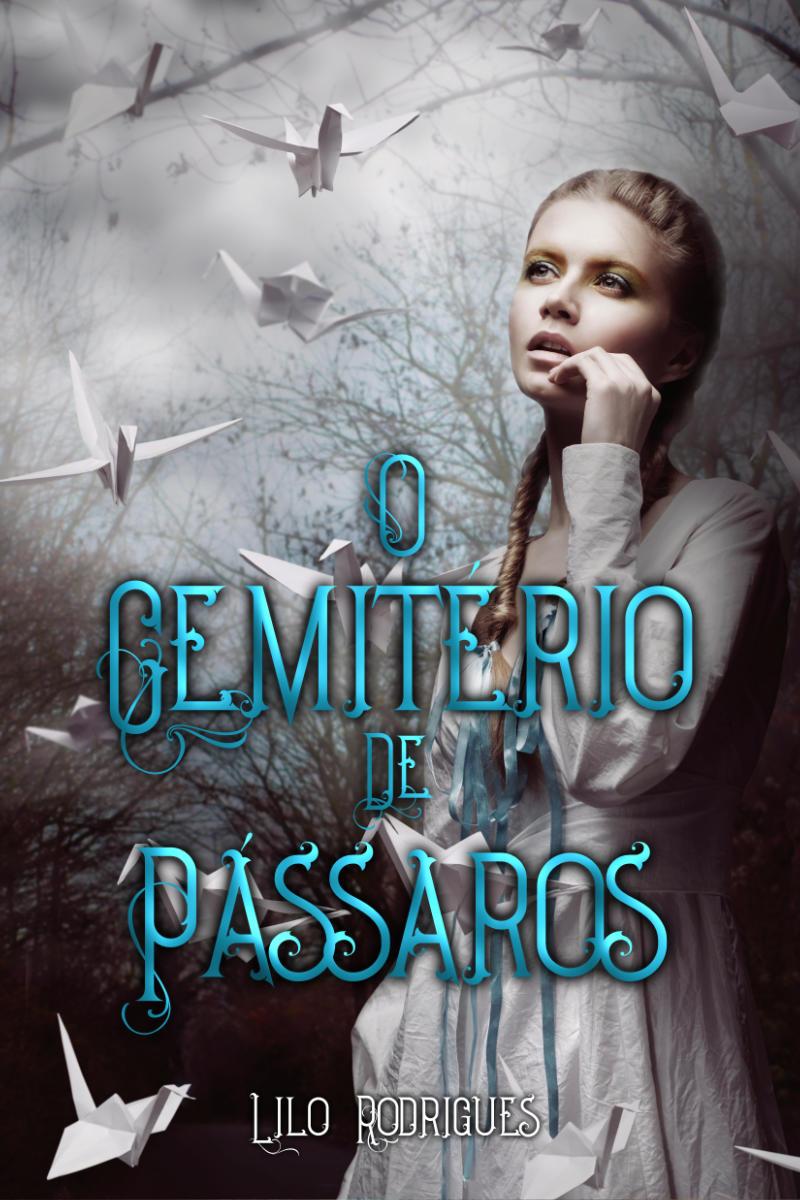 capa do livro O Cemitério de Pássaros, onde há uma garota olhando para vários tsurus